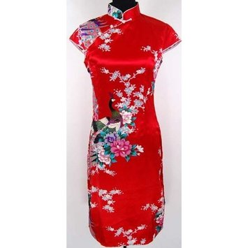 Shanghai Tone Elegant Floral Cheongsam Mini Dress Red Available Sizes: 0, 2, 4, 6, 8, 10, 12