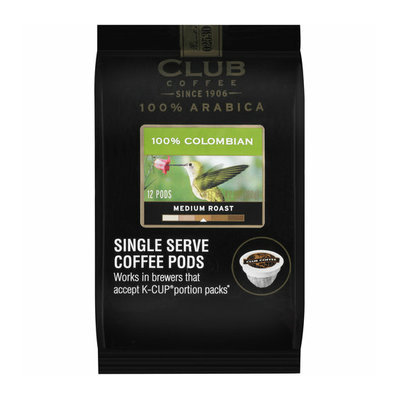 Club Coffee 100% Arabica 100% Colombian Medium Roast Single Serve Coffee Pods