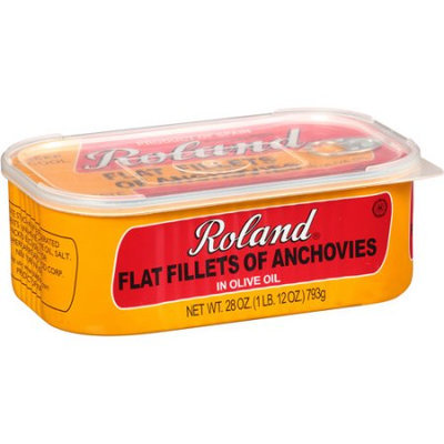 Generic Roland Flat Fillets of Anchovies in Olive Oil, 28 oz, (Pack of 12)