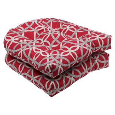 Pillow Perfect Outdoor 2-Piece Wicker Seat Cushion Set - Red/Brown Keene