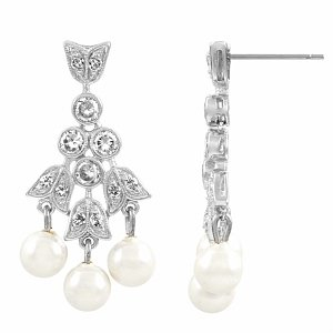 Emitations Hitomi's CZ and Pearl Bridal Earrings