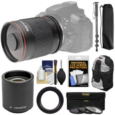 Vivitar 500mm f/8.0 Mirror Lens with 2x Teleconverter (=1000mm) + Monopod + Backpack + 3 Filters Kit for Canon EOS Rebel SL1, T3, T3i, T5, T5i, 70D, 6D, 7D 5D Mark II III Camera