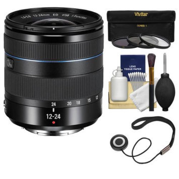 Samsung 12-24mm f/4-5.6 NX ED Wide Angle Zoom Lens (Black) with 3 Filters + Kit for Galaxy NX, NX30, NX210, NX300, NX2000, NX3000 Cameras