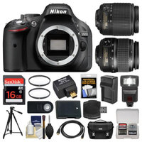 Nikon D5200 Wi-Fi Digital SLR Camera with 18-55mm, 55-200mm Lenses, WU-1a, Bag & Card (Black) + Flash + Battery & Charger + Tripod + Filters + Kit