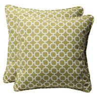 Pillow Perfect Outdoor 2-Piece Square Toss Pillow Set - Green/White Geometric 18