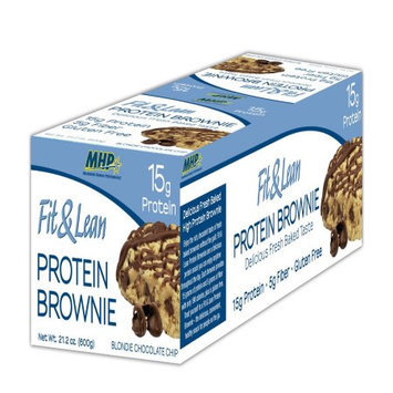 MHP Fit and Lean Brownie Protein Bar, Blondie Chocolate Chip, 12 Count
