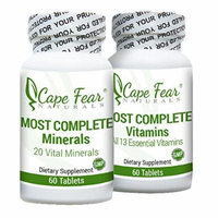 Cape Fear Naturals - Most Complete Minerals & Most Complete Vitamins Package - Includes 13 Vitamins & 20 Minerals - Includes 60 caplets each (2 Month Supply)