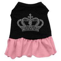 Mirage Pet Products 5713 LGBKPK Rhinestone Crown Dress Black with Pink Lg 14