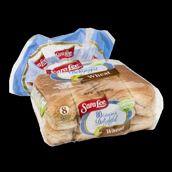 Sara Lee 80 Calories & Delightful Wheat Hot Dog Buns - 8 CT