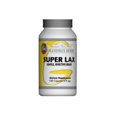 Grandma's Herbs SUPER LAX Most Effective Natural Mild Herbal Laxative with Cascara Sagrada - 100 Capsules