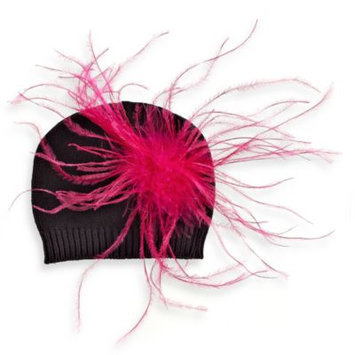 Mud Pie Zebra Knit Hat with Pink Ostrich Feathers