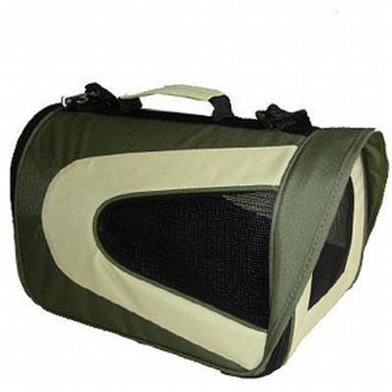 Pet Life Folding Zippered Sporty Mesh Carrier, Small, Green and Khaki, 1 ea