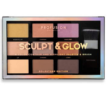 PROFUSION COSMETICS Sculpt & Glow Contour And Highlight Palette & Brush