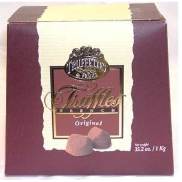 Chocolate Chocmod Truffettes de France Natural Truffles, Plain, 1000-Gram Boxes (Pack of 2)