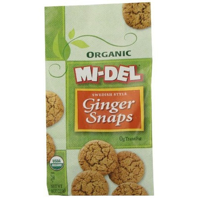 Mi-Del Organic Swedish Style Ginger Snaps, 8 Ounce Bags (Pack of 12)