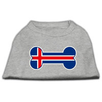 Mirage Pet Products 5116 MDGY Bone Shaped Iceland Flag Screen Print Shirts Grey M 12