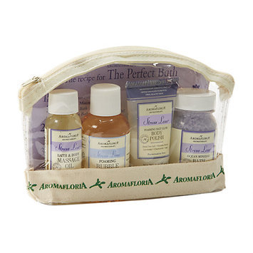 Stress Less By Aromafloria Set-Ocean Mineral Bath Salts 2 Oz & Foaming Bubble Bath 2 Oz & Foaming Salt Glow Body Polish 1 Oz & Bath & Body Massage Oil 1 Oz & Clear Trave Tote