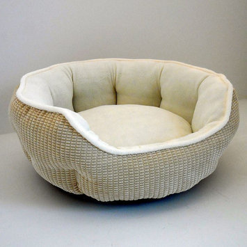 Paws & Claws Logan Ribbed Soft Quilted Cozy Pet Bed Almond