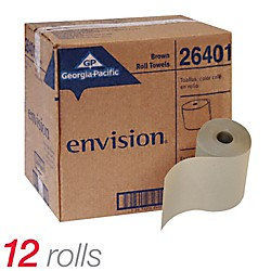 Envision Natural Hardwound Paper Towel Rolls, Natural, 1-Ply