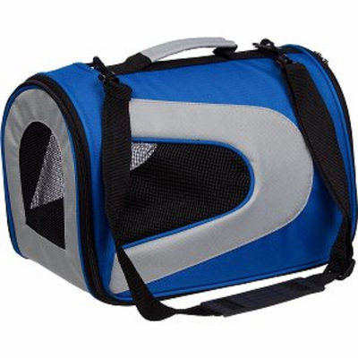 Pet Life Folding Zippered Sporty Mesh Carrier, Small, Blue and Grey, 1 ea