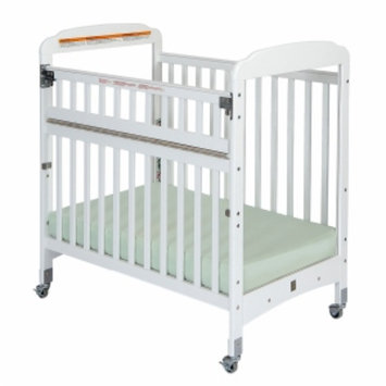 Child Craft Bella Professional Child Care SafeAccess Compact Crib, Clearview Ends, White, 1 ea