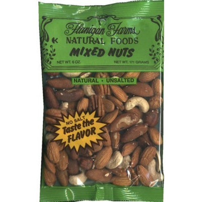 Flanigan Farms Natural Foods Mixed Nuts, Unsalted, No Peanuts 6oz (6 Pack)