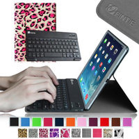 Fintie SmartShell Cover with Wireless Bluetooth Keyboard Case for Apple iPad Air / iPad 5, Leopard Pink