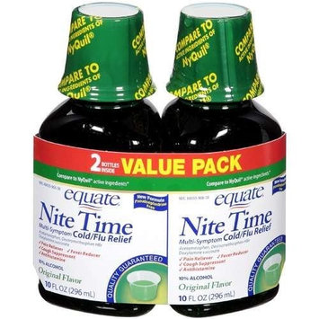 Equate - Nite Time, Multi-Symptom Cold/Flu Relief, Original Flavor, 20 oz (Compare to NyQuil)