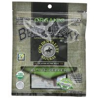 Golden Valley Natural Organic Beef Jerky, Black Pepper, 3-Ounce Pouches (Pack of 8)