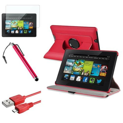 Insten INSTEN Red 360 Leather Case Cover+LCD+Stylus+Cable For Amazon Kindle Fire HD 7 2nd Gen