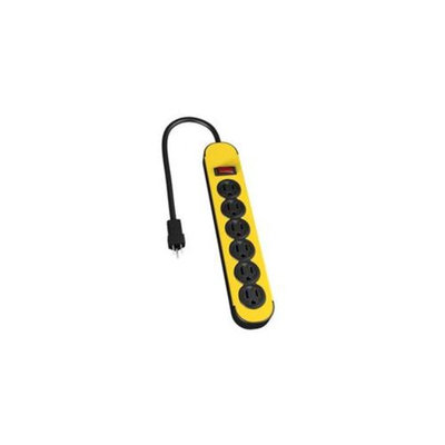 The Ncc Ny Llc 31605 6 Outlet Yellow & Black Metal Power Block With 3 inch Cord