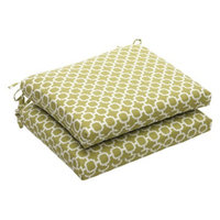 Pillow Perfect Outdoor 2-Piece Chair Cushion Set - Green/White Geometric