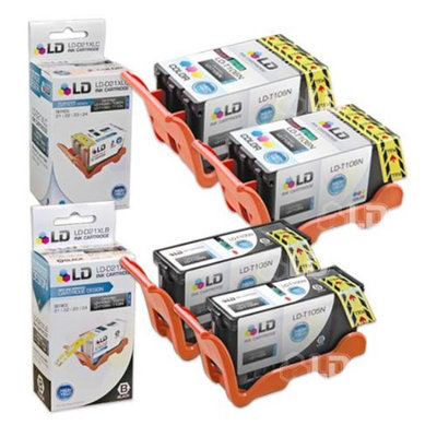 LD Compatible Set of 4 (Series 23) High Yield Black & Color Ink Cartridges for the Dell V515w Printer: 2 Black T105N, 2 Color T106N