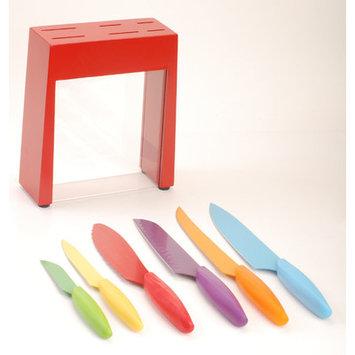Gela Global 7 Piece Non-Stick Coated Knives Set Knifeblock Color: Red