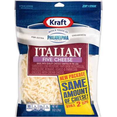 Kraft Shredded Italian Five Cheese Blend with a Touch of Philadelphia 8 oz. ZIP-PAK®