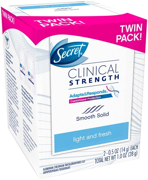Clinical Strength Secret Clinical Strength Smooth Solid Women's Antiperspirant & Deodorant Light & Fresh Scent Twin Pack .5 oz