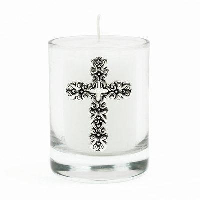Bobsiemondesigns Swirl Cross Votive Candle