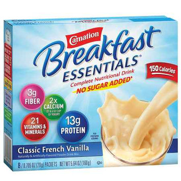 Carnation Breakfast Essentials Complete Nutritional Drink No Sugar Added Packets Classic French Vanilla