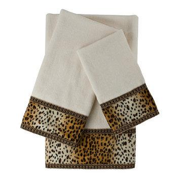 Sherry Kline Panthera Embellished 3 Piece Towel Set Color: White