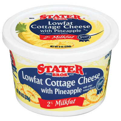 Stater Bros. Lowfat W/Pineapple 2% Milkfat Cottage Cheese 8 Oz Tub
