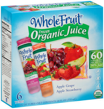 Whole Fruit® Apple Grape/Apple Strawberry Frozen Organic Juice Variety Pack 18 fl. oz. Box