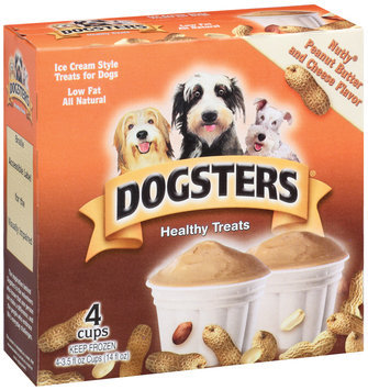 Dogsters Ice Cream Style Treats For Dogs Nutly Peanut Butter & Cheese Flavor 3.5 Oz Healthy Treats 4 Ct Box
