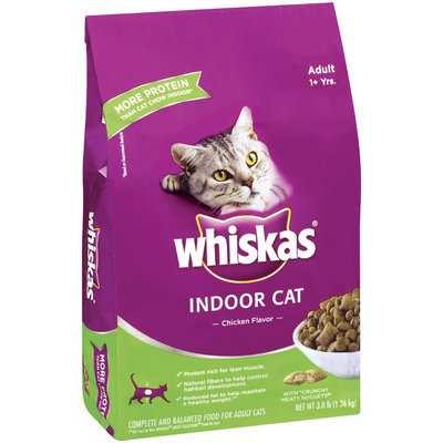 Whiskas Indoor Cat Chicken Flavor Adult 1+ Yrs Dry Cat Food 3 Lb Bag