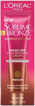 L'Oréal® Paris Sublime Bronze Summer Express Wash-Off Face Bronzer Cream Medium with SPF 20 1.0 fl. oz. Tube