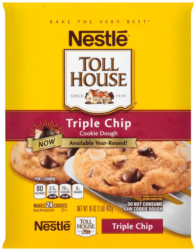 Nestlé TOLL HOUSE Triple Chip Cookie Dough 16 oz. Bar
