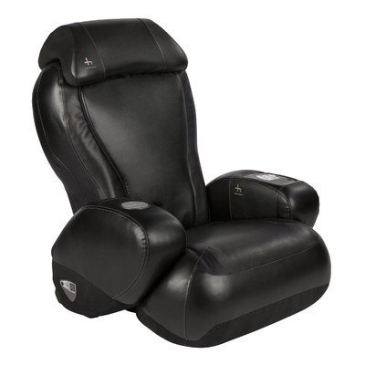 Red Barrel Studio Leather Reclining Massage Chair Upholstery: Black SofHyde