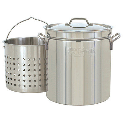 Bayou Classic Steam Boil Fry Stainless Steel Stockpot with Basket