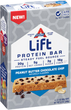 Atkins® Lift Peanut Butter Chocolate Chip Protein Bar 4-2.1 oz. Packs