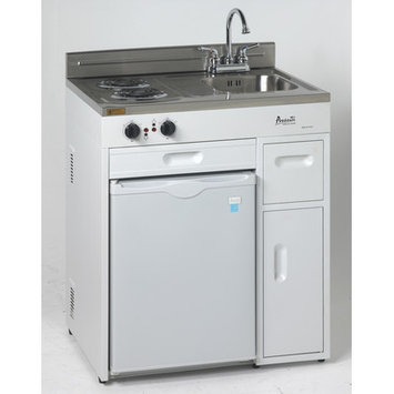 Mas Inc. MAS CK3016 30 in. Complete Compact Kitchen - 2.2 CF Refrigerator White with SS Top