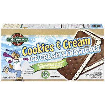 Haggen Cookies & Cream 3.5 Oz Ice Cream Sandwiches 12 Ct Box